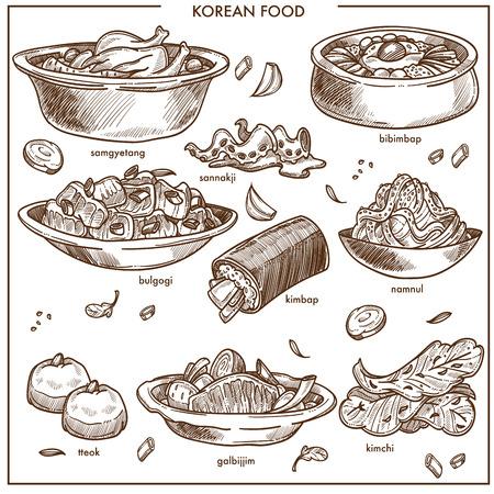 Koreaanse keuken traditionele gerechten schets iconen. Vectorreeks van samgyetang-kip met kruidige sannakji en kimchikool, ramen noedelsoep of bulgogi en kimpab met gebakje voor het restaurant van Korea. Stockfoto - 93527626