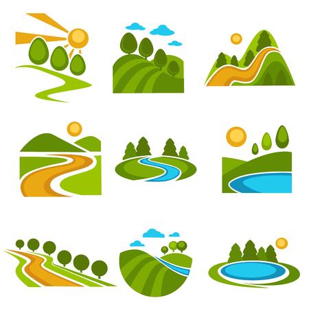Geplaatste de aardpictogrammen van het bedrijf vector groene bomen van het landschapsontwerp