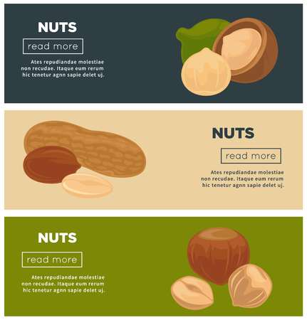 Healthy nutritious nuts promotional Internet pages templates set. Vectores