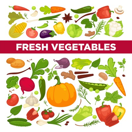 Fresh vegetables advertisement with organic healthy vegetarian products and greenery from farm full of vitamins
