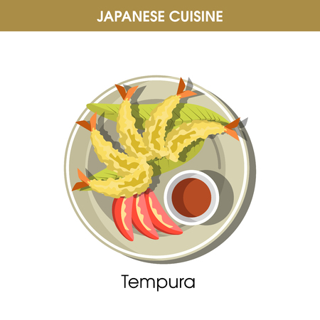 Delicious Tempura with soy sauce from Japanese cuisine