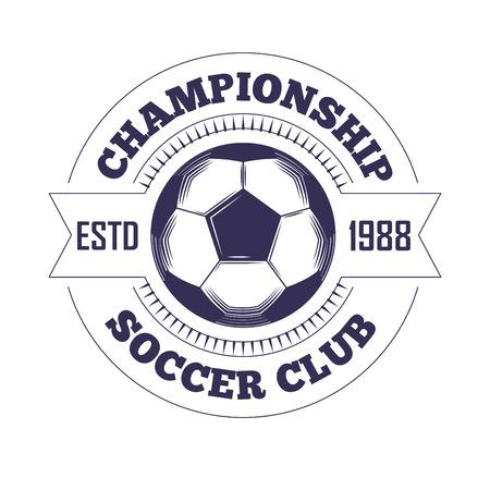 Voetbalclub of voetbal league kampioenschap cup logo sjabloon. De vector isoleerde heraldisch pictogram van voetbal, de vleugels van de voetbalkampioen en de ster van overwinningslaurier op lintschild voor sporttoernooien Logo