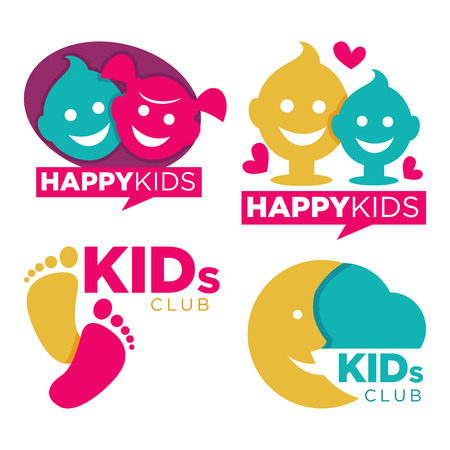 Kids club with entertainments bright promotional emblems set isolated cartoon flat vector illustration on white background. Childrens zone logotypes with human hands, funny faces and half moon.