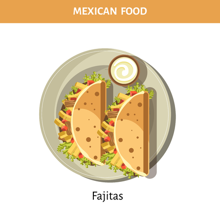 Delicious Fajitas with garlic sauce from traditional Mexican food isolated cartoon flat vector illustration on white background. Spicy dish of meat and vegetables wrapped in tortilla grilled.