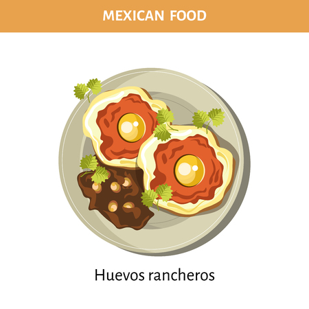 Delicious Huevos rancheros on plate from traditional Mexican food isolated cartoon flat vector illustration on white background. Fried eggs with hot spices and tick sauce decorated with parsley.  イラスト・ベクター素材