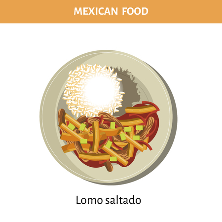 Nutritious Lomo saltado on plate from Mexican food Illustration