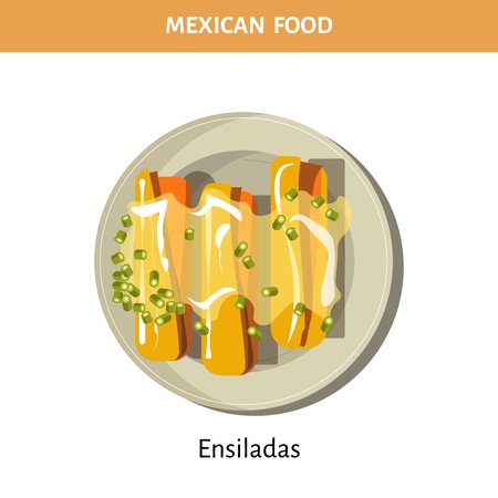 Delicious Ensiladas under sauce on plate from Mexican food