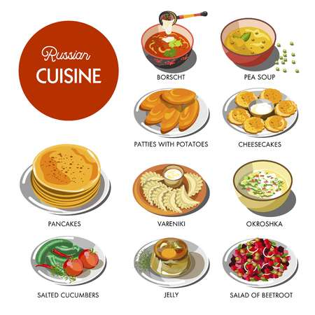 Russian cuisine traditional food dishes