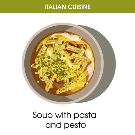 Italian cuisine soup of pasta and pesto vector icon for restaurant menu or cooking recipe template.