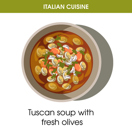 Italian cuisine Tuscan soup with olives vector icon for restaurant menu or cooking recipe template.