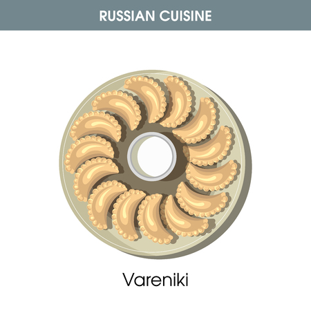 Delicious Vareniki with sour cream from Russian cuisine Illustration