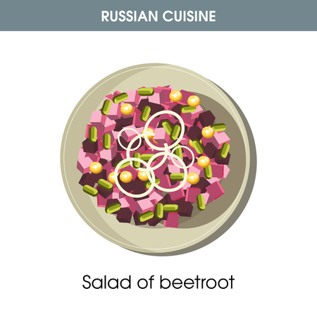 Salad of beetroot on plate from Russian cuisine Vectores