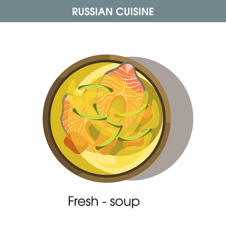 Fresh-soup with fish in bowl from Russian cuisine. Vectores