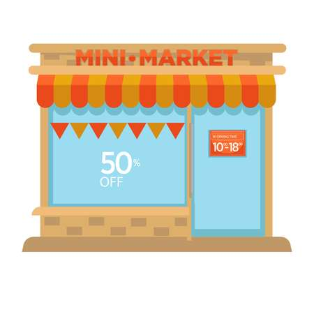 A Mini market shop booth or grocery store vector isolated facade icon. Minimarket flat design street view with shop-window, door and signage