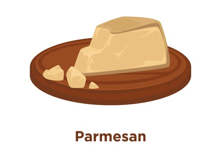 Cheese Parmesan sort vector flat isolated slice icon on wooden platter Vectores