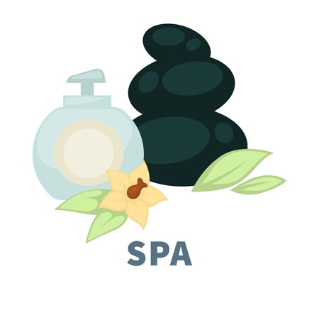 SPA wellness massage stones and essential oil vector flat icon for body treatment salon Illustration