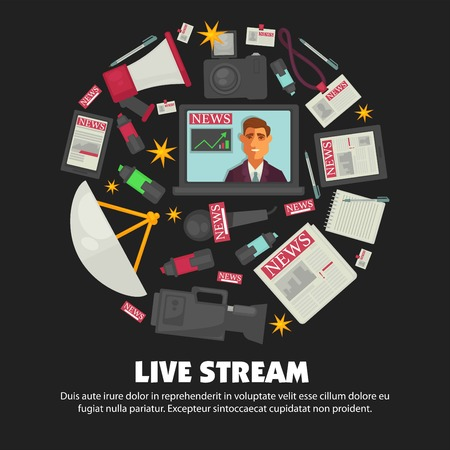 Breaking news live broadcast vector poster of anchorman on television and journalist work equipment Ilustração