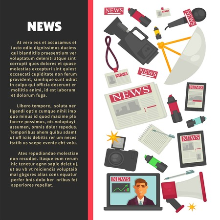 Television news poster for journalism profession of vector journalist equipment