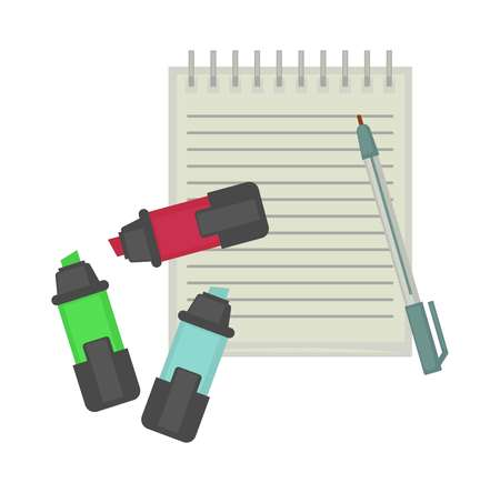 News journalist professional tools equipment vector flat icon of pen and notepad Illustration