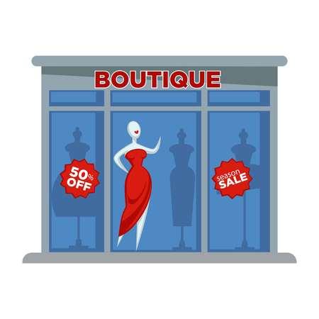 moda tienda de ropa de vestir de vestuario o tienda de ropa del vector del icono del diseño plano aislado