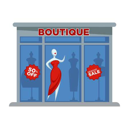 Fashion dress boutique facade building or womenswear store vector flat design isolated icon Vectores