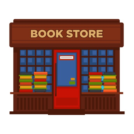 Bookstore or bookshop booth facade building vector flat design isolated icon Çizim