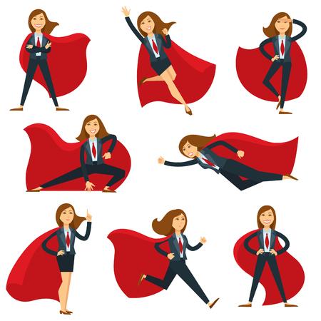 Superwoman of super vrouw officemanager in superheld kostuum vector platte karakter pictogrammen