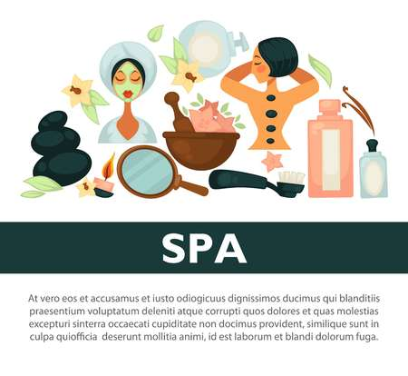 Oriental spa procedures for health and beauty promotional banner Illustration