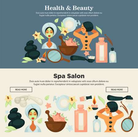 Health and beauty prosedures at spa salon promo banner Illustration