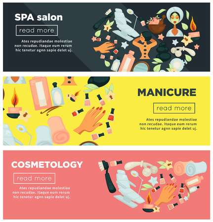 Spa salon with manicure and cosmetology procedures promo posters set
