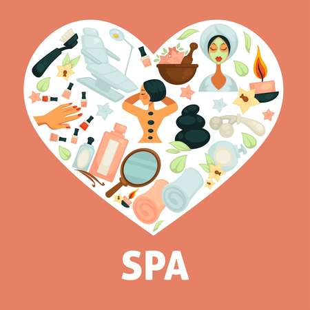 Spa procedures promotional poster with illustrations inside heart