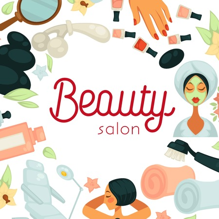Beauty salon promotiobal poster with equipment for procedures Illustration