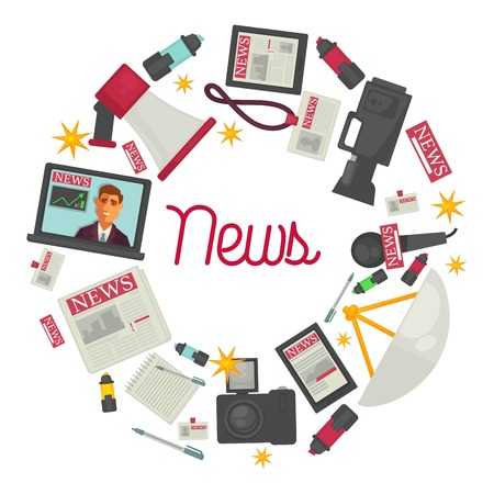 News promotional posters with reportage creation equipment in circle