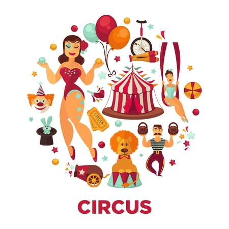 Circus show performance elements and accessories. Illustration