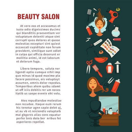 Woman hairdresser beauty salon poster flat design for hair coloring and styling. Illustration