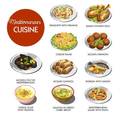 Mediterranean cuisine food traditional dishes Ilustracja