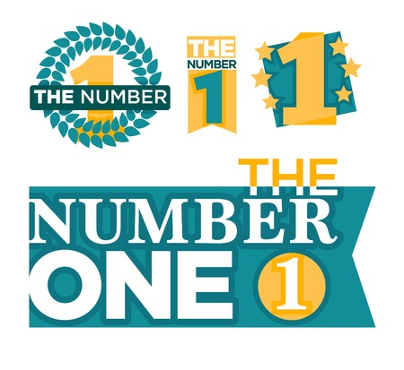 Number one emblems set with stars and ribbons around big numeral isolated cartoon vector illustrations on white background.