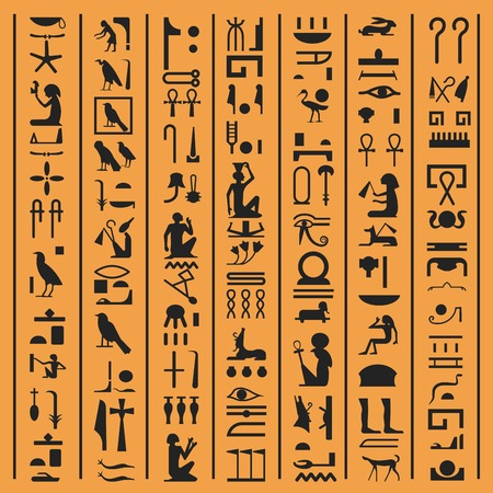 Egyptian hieroglyphs or ancient Egypt letters vector background