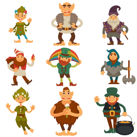 Gnomes, dwarfs or elf and leprechaun cartoon magic characters vector isolated icons