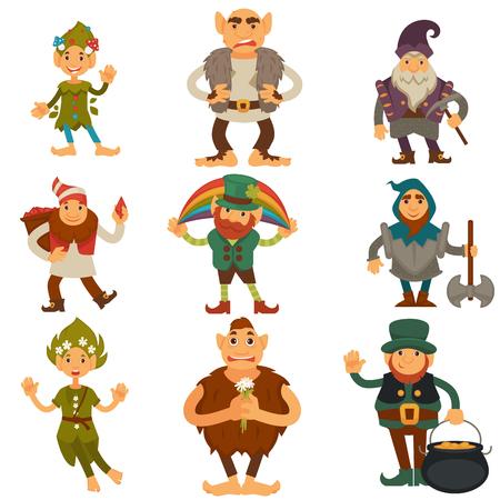 Kabouters, dwergen of elf en kabouter cartoon magische tekens vector geïsoleerde pictogrammen