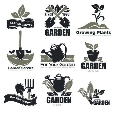 Gardening service and garden plants vecotr icons templates for gardener agriculture Illustration