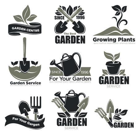 Tuinservice en tuinplanten vecotr pictogrammen sjablonen voor tuinman landbouw Stock Illustratie