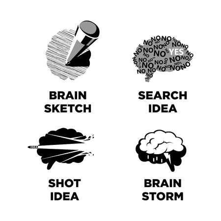 Innovative ideas idea and smart brain vector icons templates Vectores