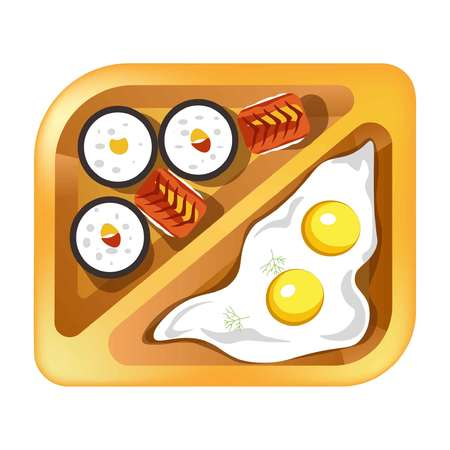 Lunch box meals healthy diet food of fried eggs and sushi rolls Illustration
