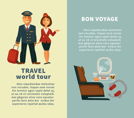 Travel world tour and bon voyage vertical posters Illustration