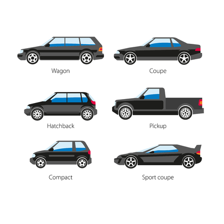 Car automobile body types set with names of wagon coupe or hatchback and pickup truck, compact sedan and sport car. Vector flat isolated icons side view