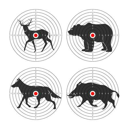 Hunting animal targets vector icons template for hunt training Illustration