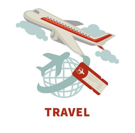 Travel agency promotional poster with modern capacious airliner