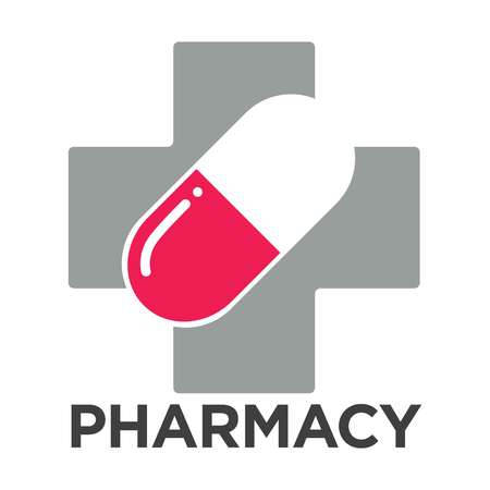 Pharmacy or drugstore logo template. Vector cross and pill isolated icon for pharmacy or medicine and drug store or medical clinic design 일러스트