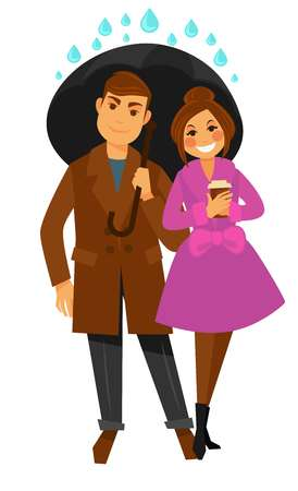 Happy couple in autumn coats walks together with paper cup of hot coffee under big black umbrella and covers from heavy rain drops isolated cartoon flat vector illustration on white background. Illustration